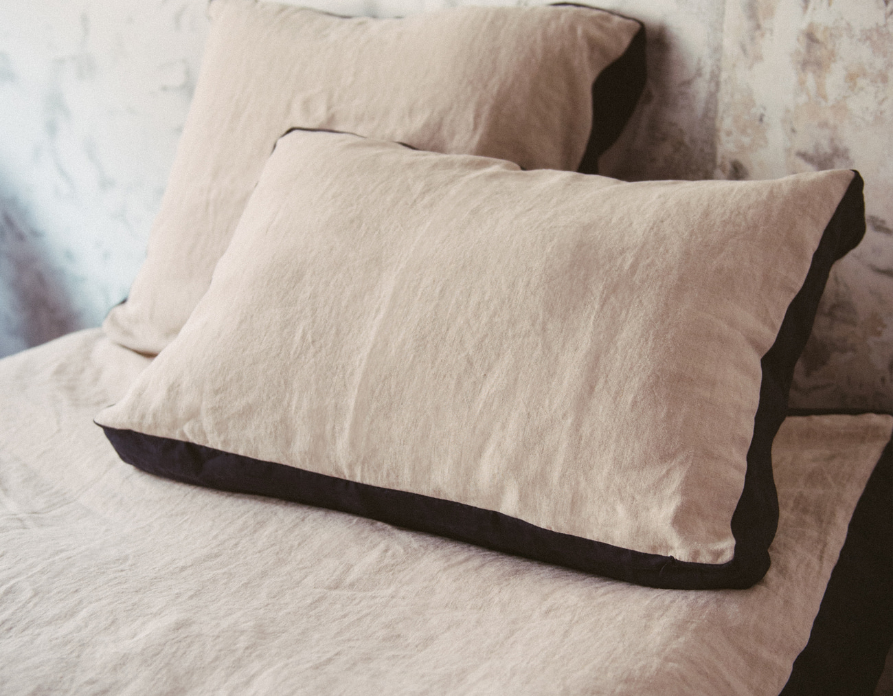 NEW LINEN DUVET COVER SET_NATURAL/NAVY