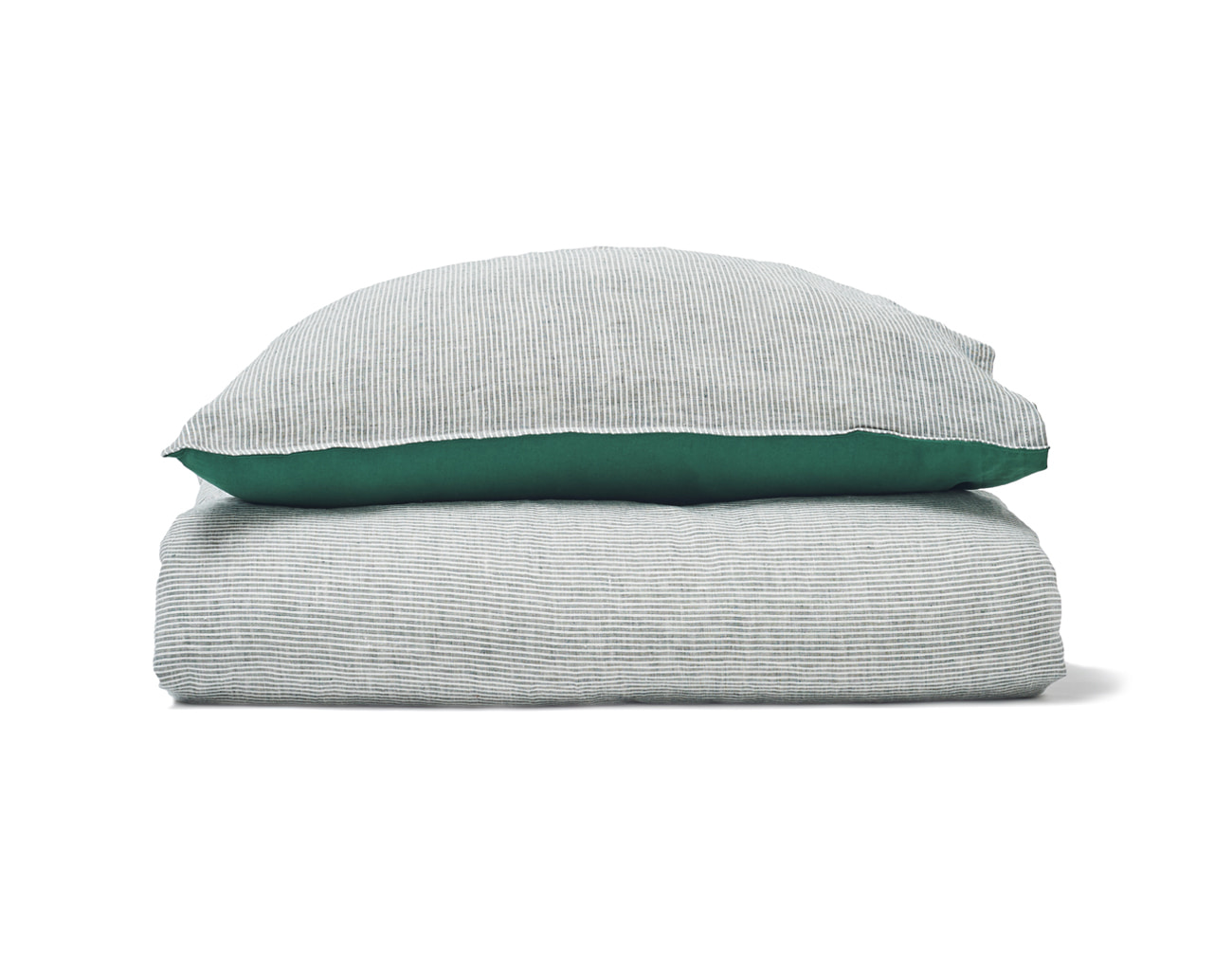 FRENCH STRIPE LINEN DUVET SET_GREEN