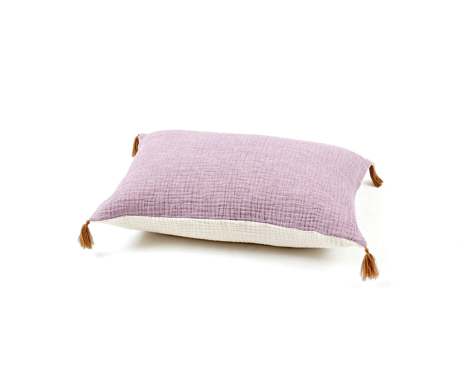BICOLOR GAUZE CUSHION PURPLE / IVORY
