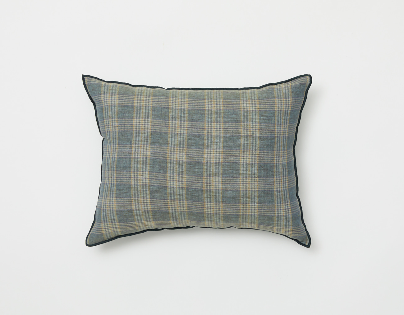 LINEN CHECK CUSHION_DEEP TURQUOISE OUTLINE