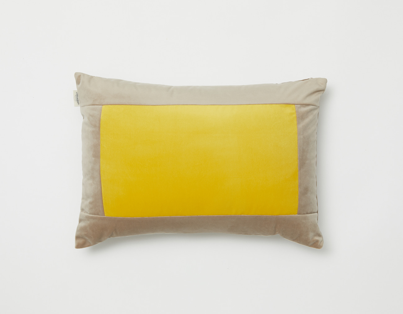 SQUARE VELVET CUSHION_BEIGE/YELLOW