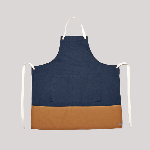 COLOR BLOCK APRON_NAVY/MUSTARD