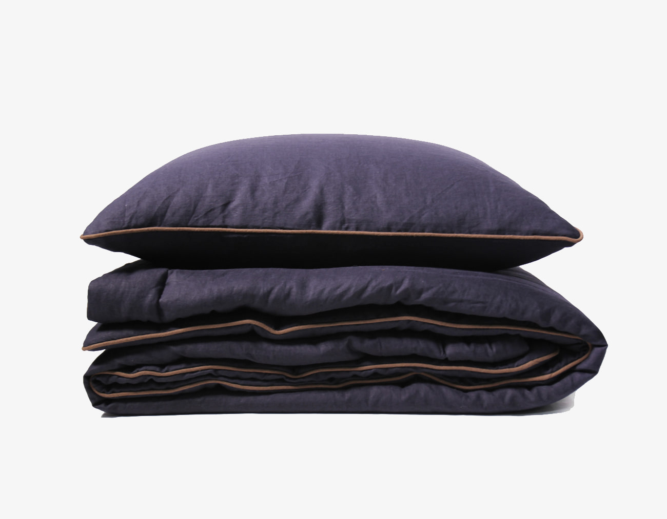 LINEN COMFORTER - NAVY/BROWN