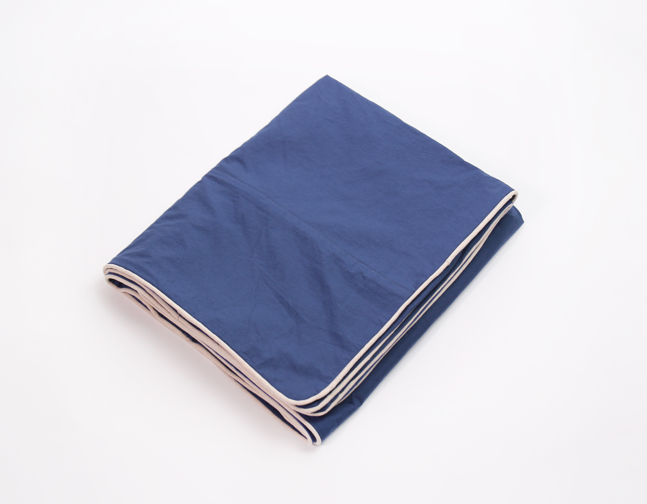 WASHING COTTON DUVET COVER - BLUE/NATURAL