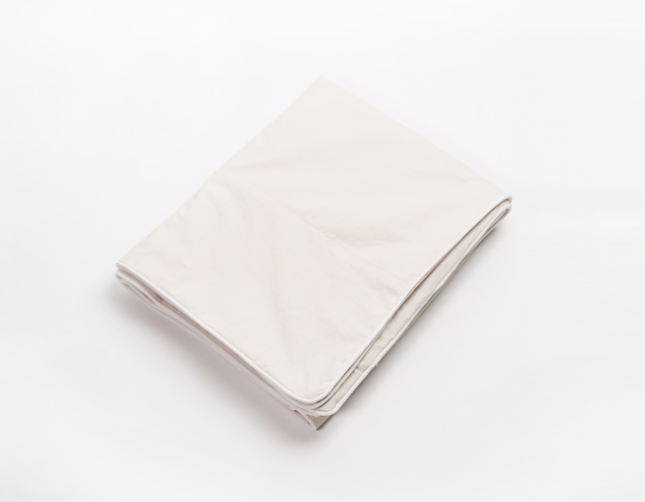 WASHING COTTON DUVET COVER - IVORY/WHITE