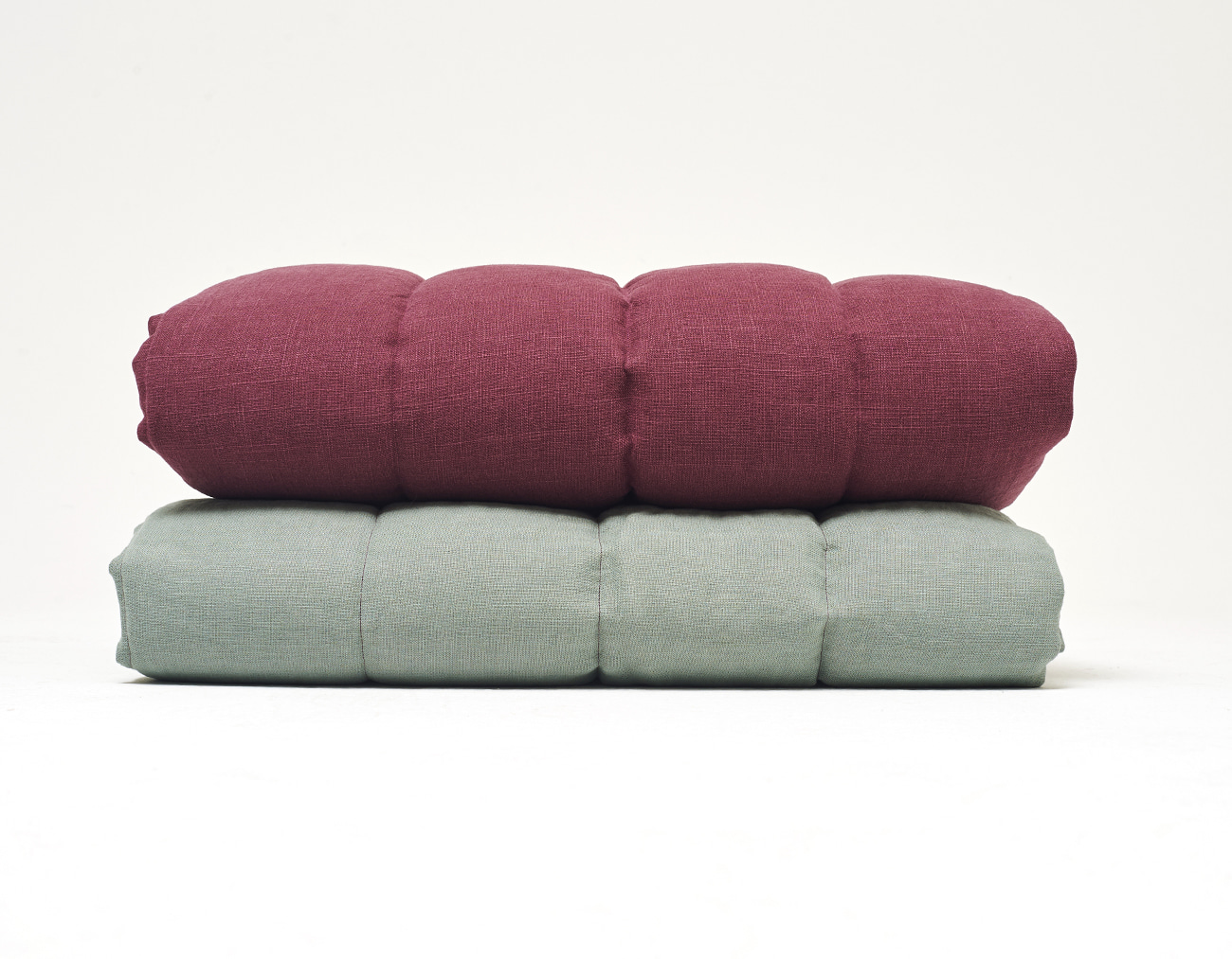LINEN STRIPE BLANKET_MINT/BURGUNDY
